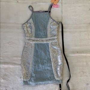 PRETTY LITTLE THING lace and pearl mini dress